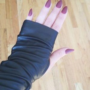 Other - Handmade Faux Leather Fingerless Gloves🖤